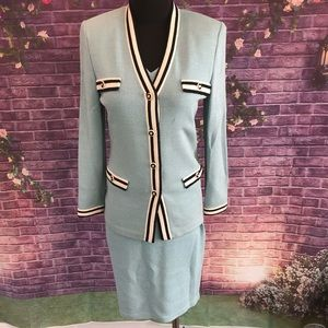 St. John Santana Knit 3 Piece Pale Blue Suit 2/P/4